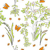 Seamless wallpaper wild flowers Royalty Free Stock Photography