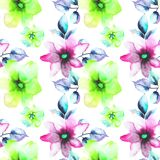 Seamless wallpaper with wild flowers. Watercolor illustration Royalty Free Stock Photo