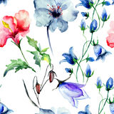 Seamless wallpaper with wild flowers. Watercolor illustration Royalty Free Stock Photography