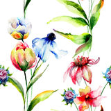 Seamless wallpaper with wild flowers Royalty Free Stock Photos