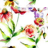 Seamless wallpaper with wild flowers Stock Images