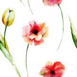 Seamless wallpaper with wild flowers Royalty Free Stock Photo