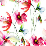 Seamless wallpaper with wild flowers Stock Photo