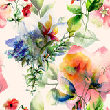 Seamless wallpaper with wild flowers Stock Photography