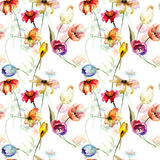 Seamless wallpaper with wild flowers Stock Photos