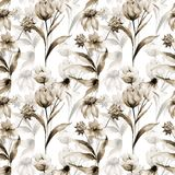 Seamless wallpaper with wild flowers. Watercolor illustration Royalty Free Stock Images
