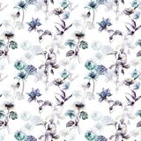 Seamless wallpaper with wild flowers. Watercolor illustration Royalty Free Stock Image