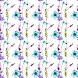 Seamless wallpaper with wild flowers. Watercolor illustration, Tile for wallpaper or fabric Stock Image