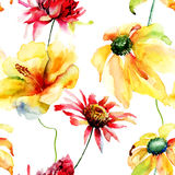 Seamless wallpaper with wild flowers Royalty Free Stock Images