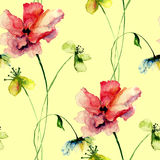 Seamless wallpaper with wild flowers Stock Image