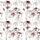 Seamless wallpaper with Yellow Gerber flowers. Watercolor illustration Royalty Free Stock Photography