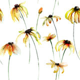 Seamless wallpaper with Yellow Gerber flowers Royalty Free Stock Images