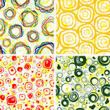 SEAMLESS wallpapers. From geometric figures and spots backgrounds Stock Photo