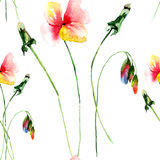 Seamless wallpapers with beautiful flower. Watercolor painting Royalty Free Stock Image