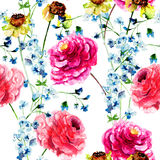 Seamless wallpapers with Beautiful Peony and gerber flowers Stock Images