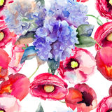 Seamless wallpapers with Beautiful summer flowers. Watercolor illustration Royalty Free Stock Images