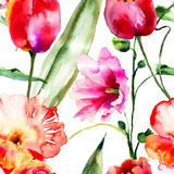 Seamless wallpapers with decorative flowers Stock Photography