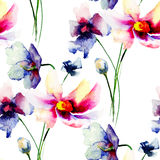 Seamless wallpapers with Decorative Gerber flowers Royalty Free Stock Images