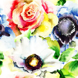 Seamless wallpapers with flowers. Watercolor illustration Stock Photography