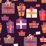 Seamless wallpapers with presents Royalty Free Stock Image