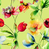 Seamless wallpapers with romantic flowers Royalty Free Stock Photo