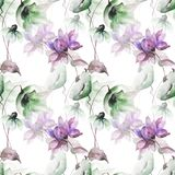 Seamless wallpapers with romantic flowers. Watercolor illustration Royalty Free Stock Photography