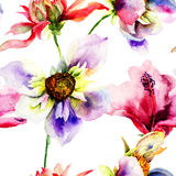 Seamless wallpapers with Stylized flowers Stock Photography