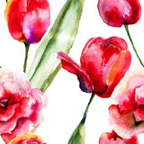 Seamless wallpapers with Tulips flowers Stock Image