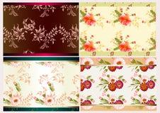 Seamless wallpapervektorset Vektor Illustrationer