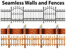 Seamless walls and fences Stock Image