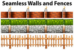 Seamless walls and fences in many designs Stock Image