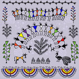 Seamless warli tribal art Stock Photo