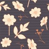 Seamless warm autumn floral pattern Stock Photos