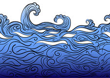 Seamless water border. Hand drawn blue seamless water border with waves and color iridescent Stock Photos