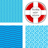 Seamless water pattern with lifebelt Royalty Free Stock Image