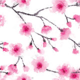 Seamless watercolor abstraction floral pattern in vintage style on white background. Vector watercolor emulation. Royalty Free Stock Photos