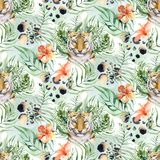 Seamless watercolor animal tiger pattern with tigers with tropical leaves, aloha jungle hawaiian. Hand painted palm leaf. Seamless watercolor tiger pattern with vector illustration