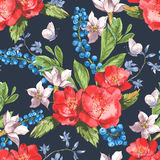 Seamless Watercolor Background with Blooming Red Stock Photo