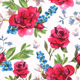 Seamless Watercolor Background with Blooming Red Stock Image
