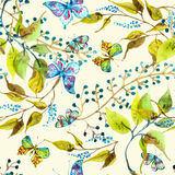 Seamless watercolor background with butterfly Stock Images
