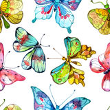 Seamless watercolor background with butterfly Stock Photo