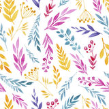 Seamless watercolor background composed of plants and flowers Royalty Free Stock Image