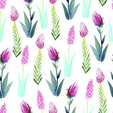 Seamless watercolor background composed of plants and flowers Stock Images