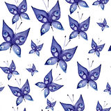 Seamless watercolor background consisting of blue butterflies stock illustration