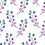 Seamless watercolor background consisting of decorative branches with small flowers Royalty Free Stock Photos