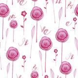 Seamless watercolor background consisting of pink flowers and petals Royalty Free Stock Image