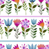 Seamless watercolor background consisting of pink flowers and petals Royalty Free Stock Photos