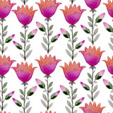 Seamless watercolor background consisting of pink flowers and petals Royalty Free Stock Photography