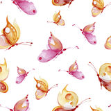 Seamless watercolor background consisting of pink and yellow butterflies Stock Photos