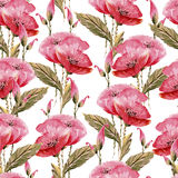 Seamless watercolor background consisting of red poppies. Seamless watercolor background consisting of a bouquet of red poppies with green leaves Stock Photos